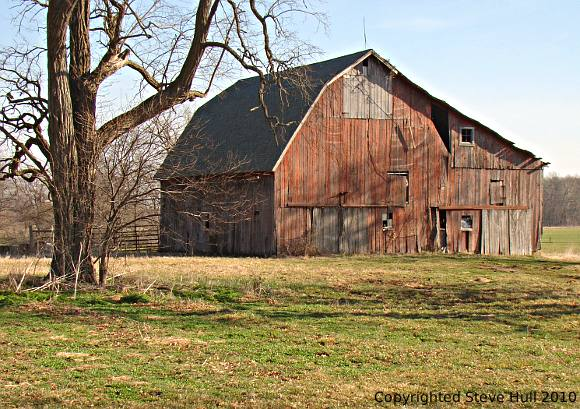 A picturesque old barn in Delaware county, Indiana.