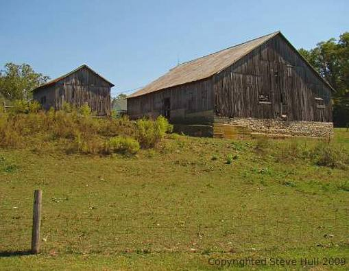 An old barn and shed near Laurel Indiana.