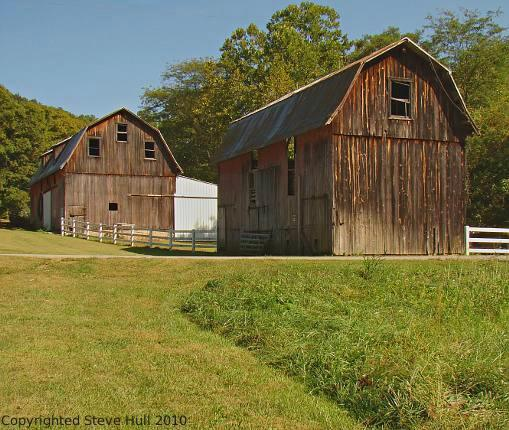 Two old barns close each other in Franklin county, Indiana