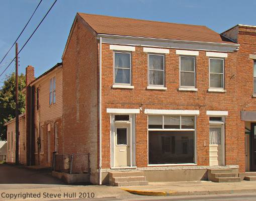 An old Federal styled commercial building in Brookville Indiana