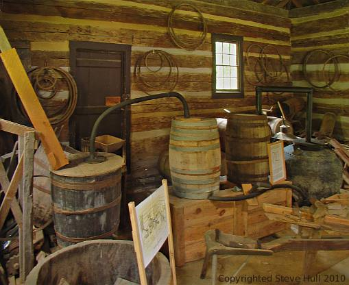 Interior of old log distillery at Spring Mill Village
