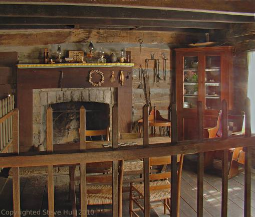 Interior of the Granny White house at Spring Mill Pioneer Village