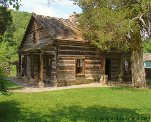 Lower Residence log cabin at Spring Mill Village