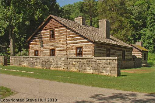 A large pioneer log cabin