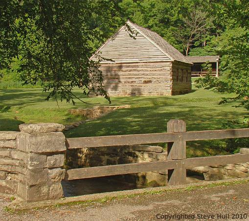 Log meeting house at Spring Mill Village