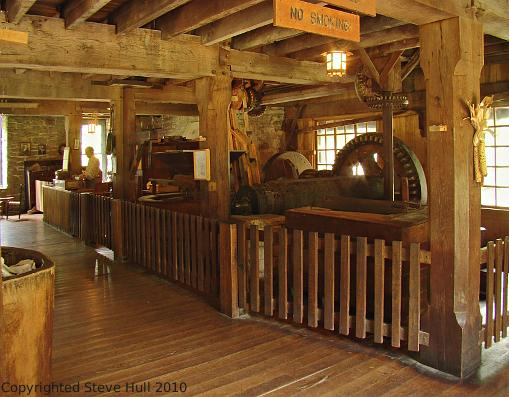 Interior view of the grist mill at Spring Mill Village