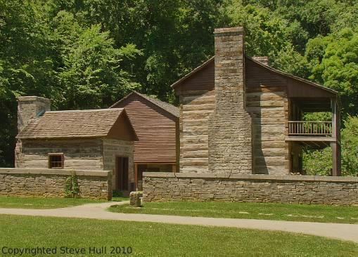 Upper residence log cabin at Spring Mill State park