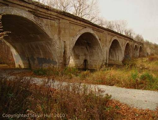 Six span arch railroad viaduct in Pendleton Indiana